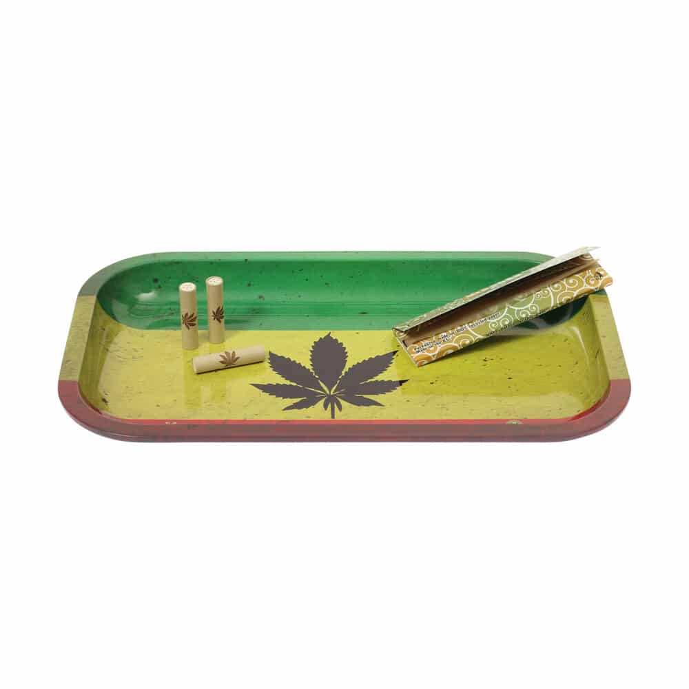 🧐 Rasta Leaf Large Metal Rolling Tray Smartific 8718274713497